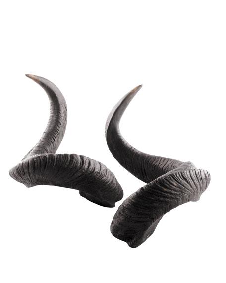 Two Faux Water Buffalo Horns
