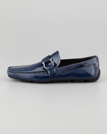 Cabo Patent Leather Driver, Blue