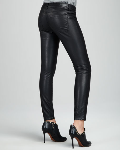 Faux-Leather Skinny Jeans, Black