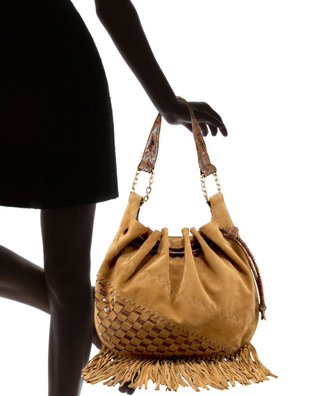 Fringed Suede and Snake Hobo