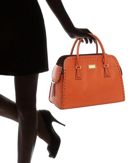 Gia Leather Satchel, Tangerine