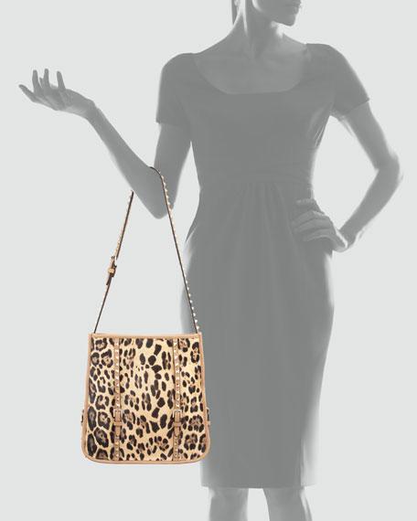 Rockstud Calf Hair Small Shopper Tote Bag
