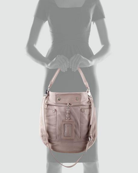 Preppy Nylon Hobo Bag, Hazelnut