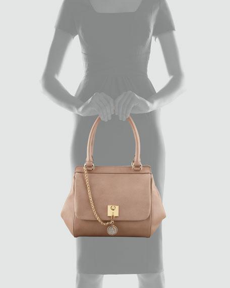 Miss Bianca Leather Chain Handbag, Powder