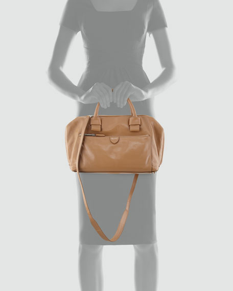 Antonia Small Leather Satchel Bag, Beige