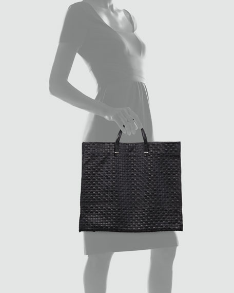 Basket-Weave Leather Simple Tote
