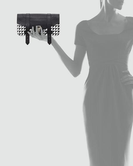 PS1 Pouchette Triangle-Print Clutch Bag, Black/White