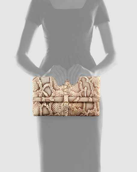 Bokori Hand-Painted Python Clutch Bag