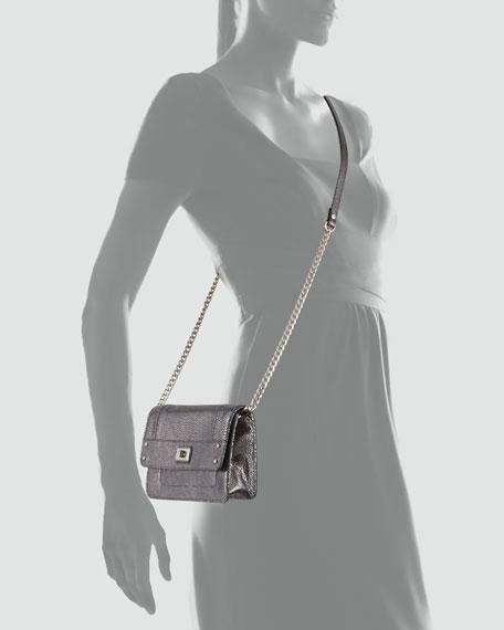 Iris Metallic Mini Bag, Gunmetal