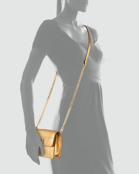Emma Embossed Metallic Crossbody Mini Bag, Gold