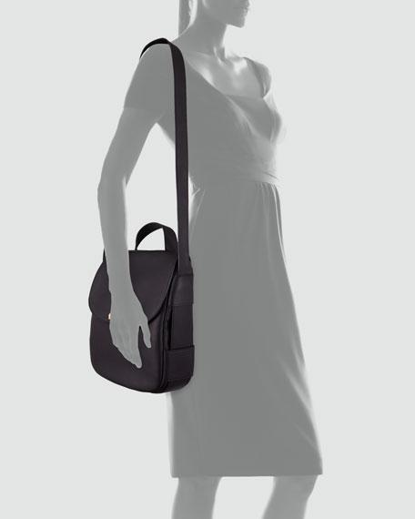 Flap-Top Satchel Bag, Charcoal