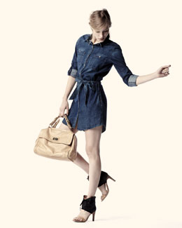 AG Adriano Goldschmied Serena Denim Tie-Waist Dress