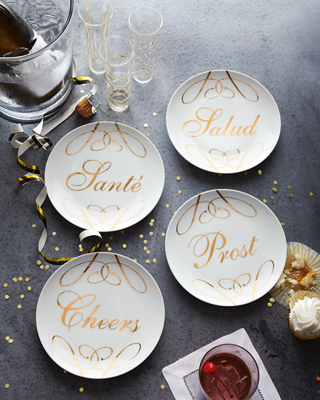 "Four ""Cheers"" Dessert Plates"