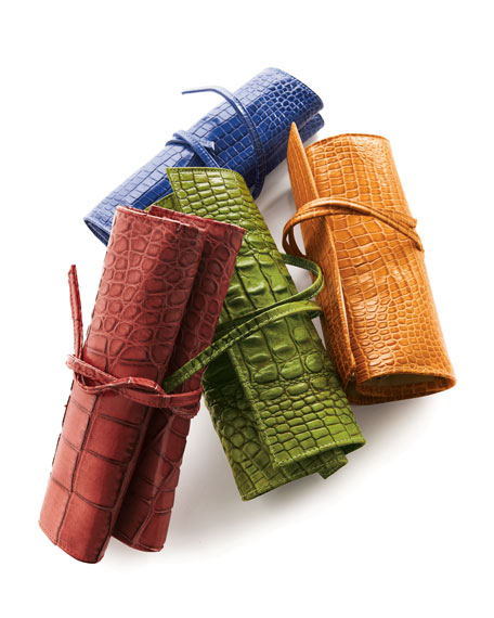 Crocodile-Embossed Jewelry Roll