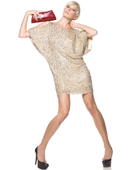 81571308bb9 Aidan Mattox Sequined Cold-Shoulder Dress