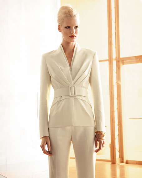 Pleated Shawl-Collar Suit