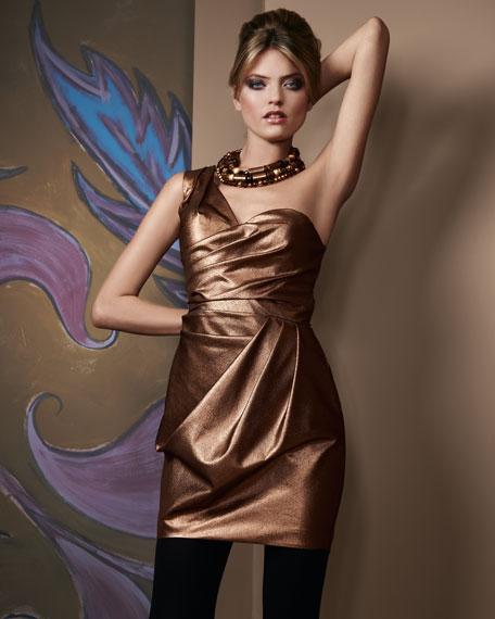One-Shoulder Draped Cocktail Dress