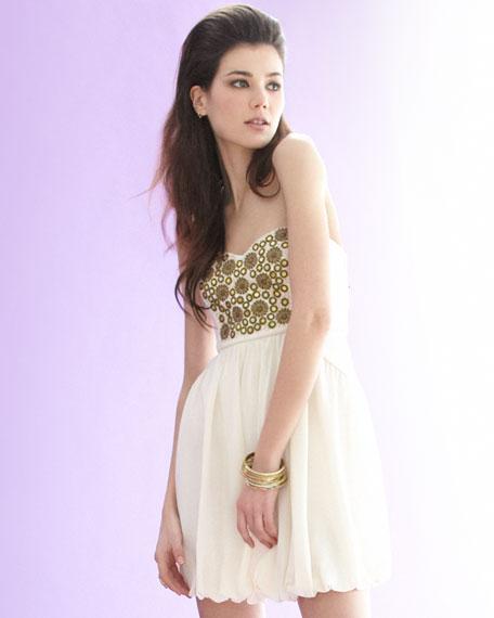 Embroidered Full-Skirt Dress