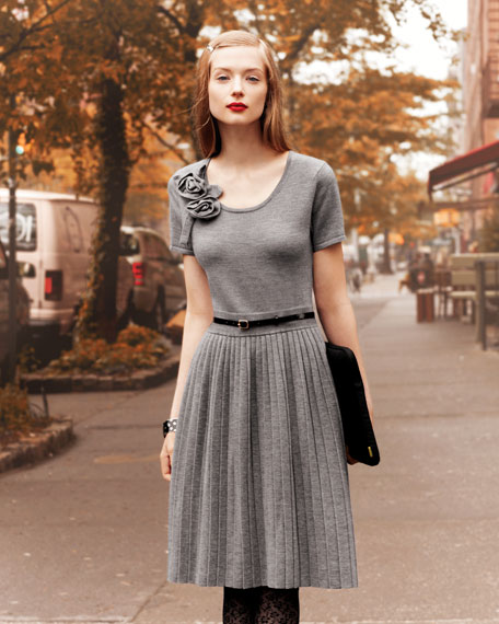perle pleat-skirt sweaterdress