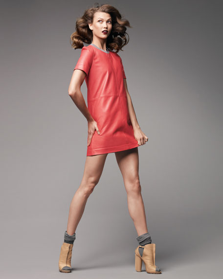 Knit-Trimmed Leather Shift Dress