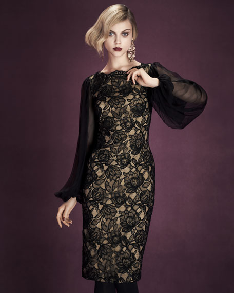 Sheer Lace Sheath Dress