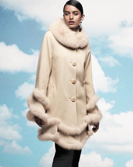 Double-Layer Fur-Trim Coat