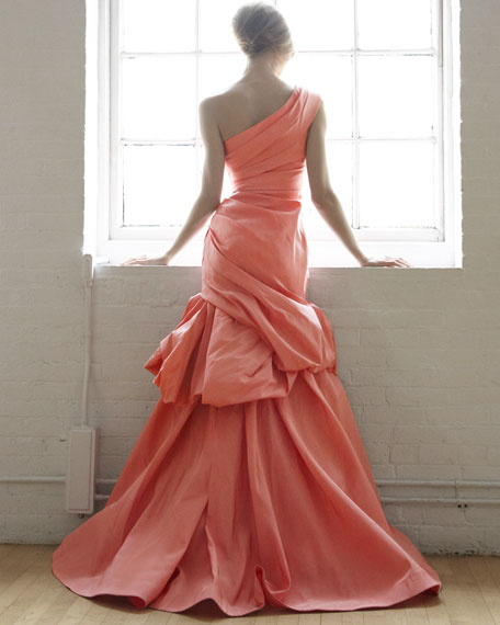 Tufted One-Shoulder Trumpet Gown