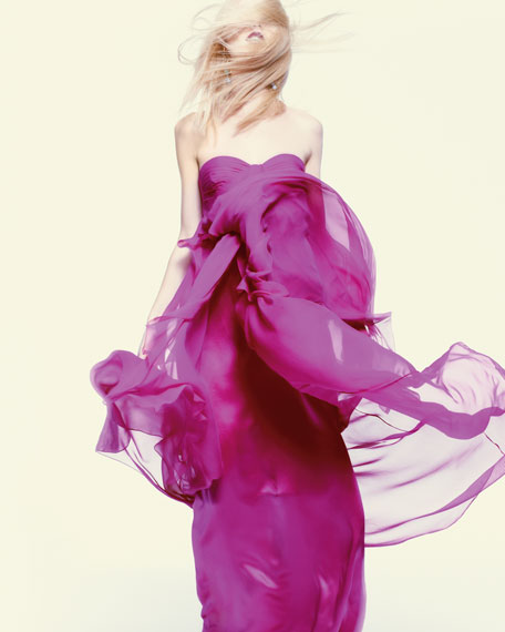 Strapless Chiffon-Train Gown