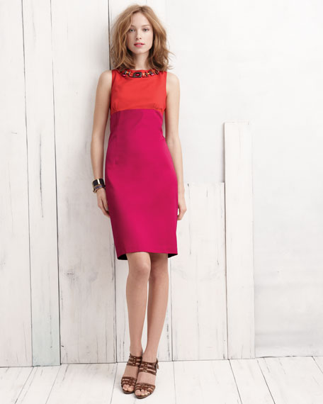 Beaded Colorblock Sheath Dress