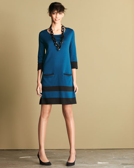 Stripe-Hem Dress, Petite