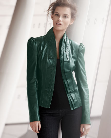 Laser-Cut Leather Jacket