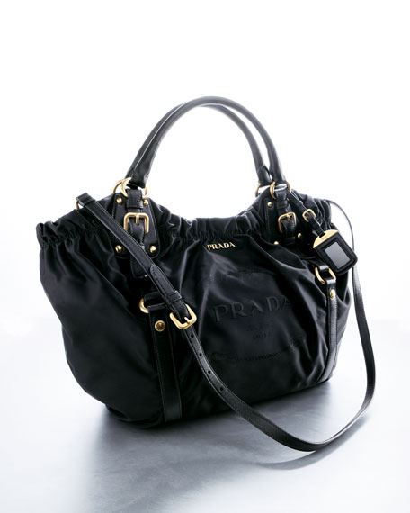 Nylon and Lambskin Shoulder Bag