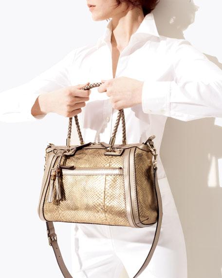 Bella Medium Top Handle Bag, Oro/Champagne Python
