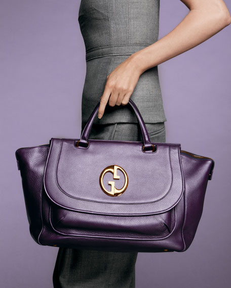 1973 Medium Top Handle Tote, Champagne or Purple Leather