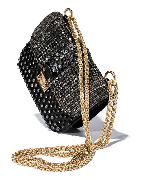 Glam Lock Crystal-Covered Bag, Black