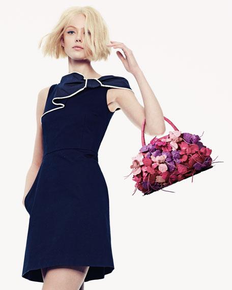 Nancy Gonzalez Floral Crocodile Small Satchel Bag, Pink/Purple