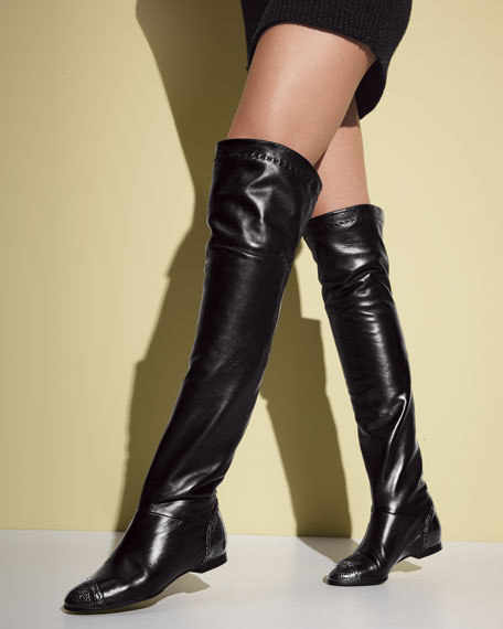 Cap-Toe Over-The-Knee Boot