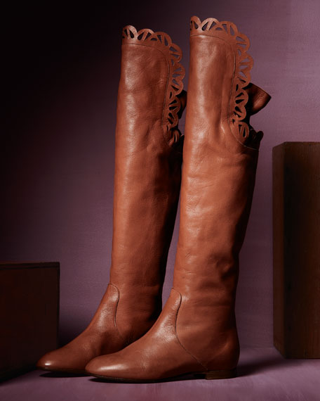 Scalloped Over-the-Knee Flat Boot