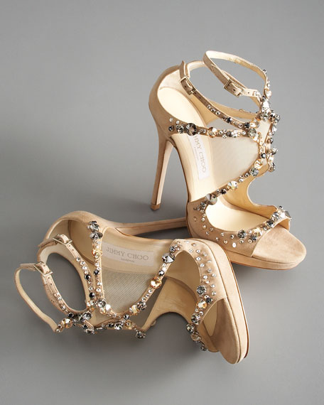 Viola Crystal-Set Suede Sandal