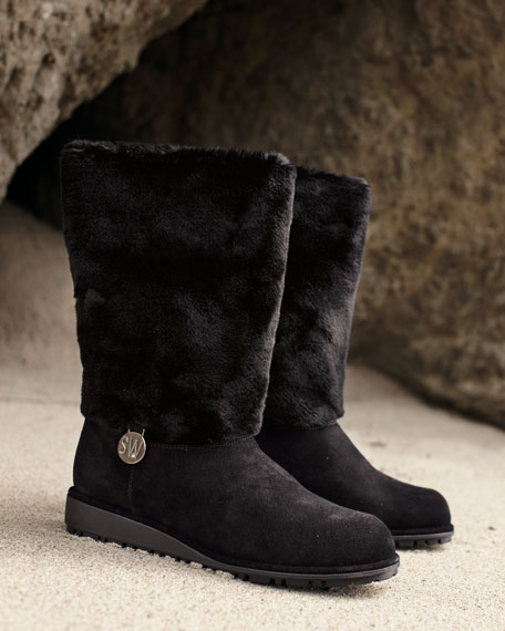Fur-Shaft Mid-Calf Boot