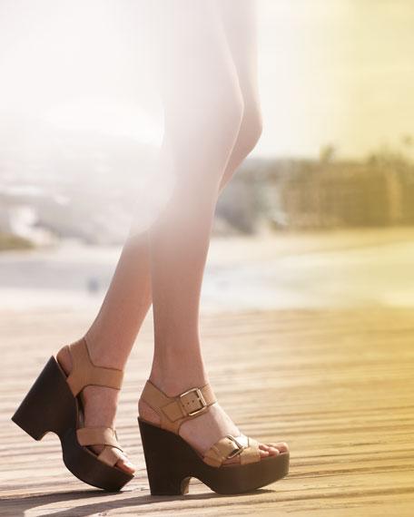 Sahale Leather Buckle Sandal, Tan