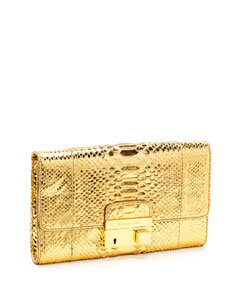 michael kors gia clutch gold python. Black Bedroom Furniture Sets. Home Design Ideas