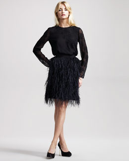 Jason Wu Sibyl Lace Applique Blouse & Bianca Ostrich Feather Skirt
