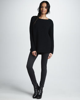 Vince Horizontal-Ribbed Knit Sweater & Five-Pocket Skinny Herringbone Jeans