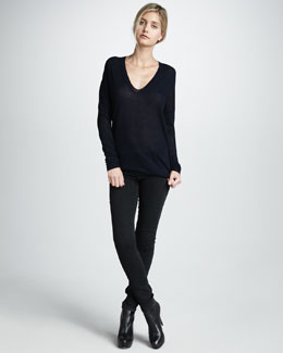 Vince V-Neck Sweater & Asphalt Seamed Leggings