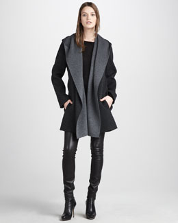 Vince Boat-Neck Sweater, Motorcross Leather Jeans & Draped Hooded Coat