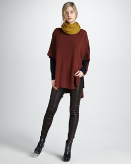 Vince Rib-Knit Poncho, Dolman-Sleeve Tee & Leather Leggings