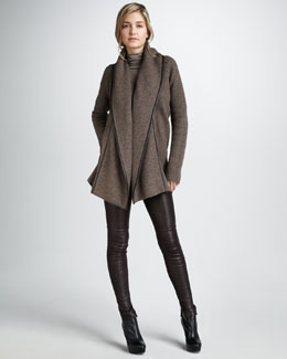 Vince Leather-Trimmed Coat, Favorite Turtleneck & Leather Leggings