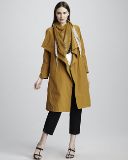 Eileen Fisher Cascade-Collar Trenchcoat, Cotton Tee, Plaid Kerchief Scarf & Slim Twill Ankle Pants, Petite