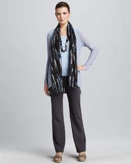 Eileen Fisher Super-Fine Wool Cardigan, Silk-Jersey Tank, Blurred Wool Scarf & Ponte Straight-Leg Pants, Women's